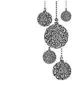 beautiful monochrome Black and White Christmas background with Christmas balls Hanging