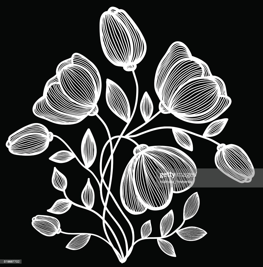 Beautiful Monochrome Black And White Flowers And Leaves Isolated