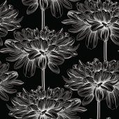 Beautiful monochrome, black and white seamless background with dahlia.
