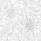 Beautiful monochrome black and white  seamless background with flowers.
