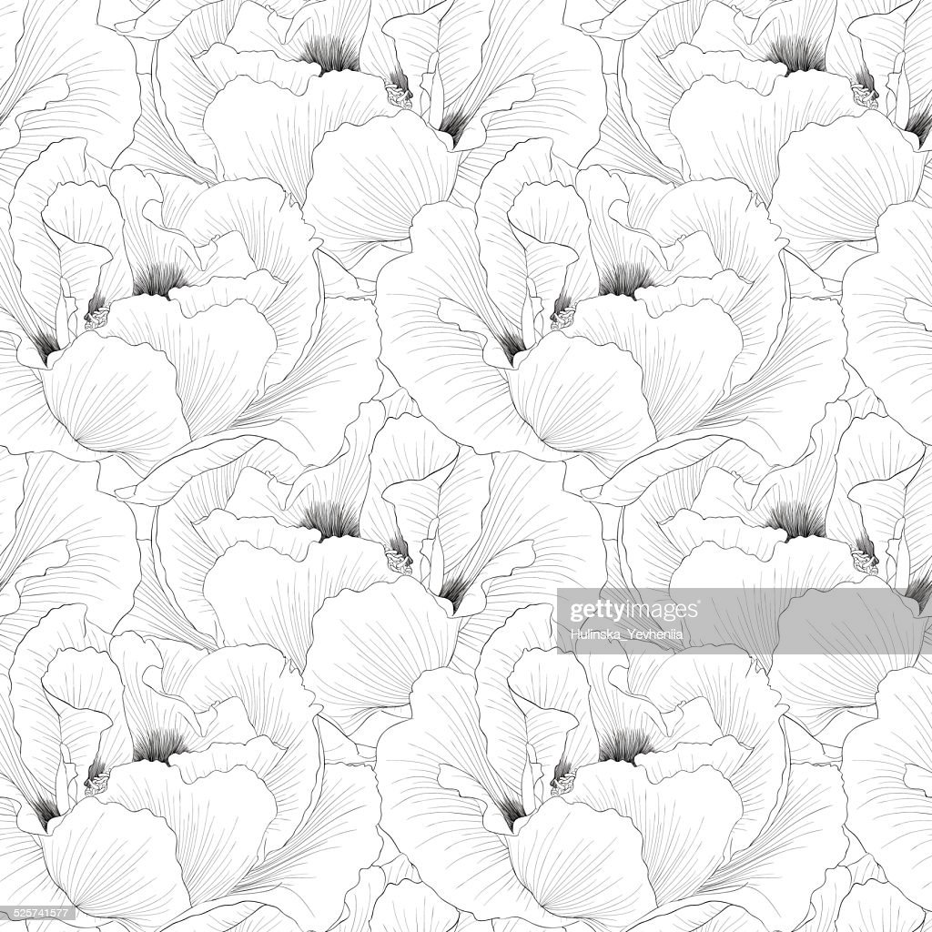 Beautiful monochrome, black and white seamless background with flowers
