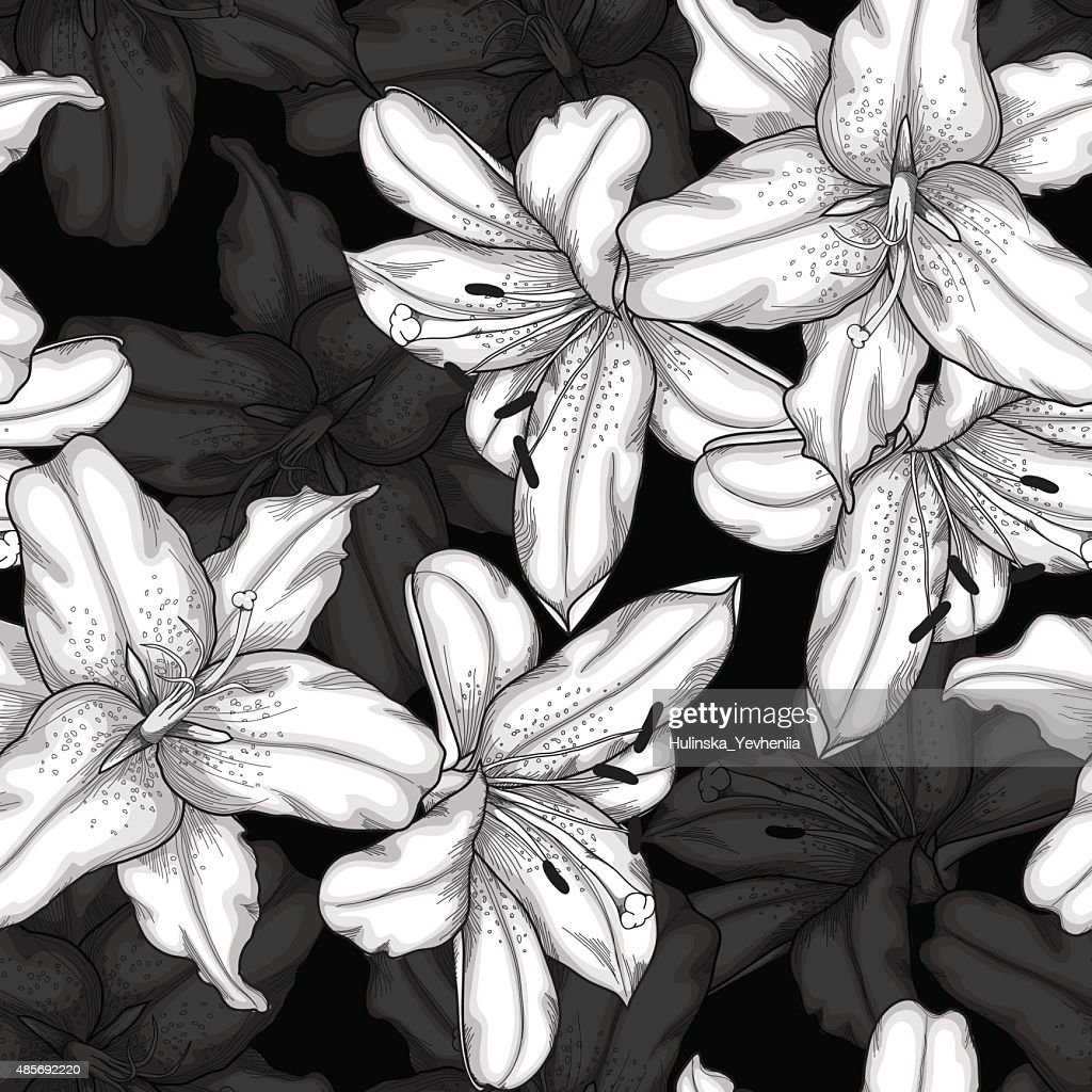 Beautiful monochrome, black and white seamless background with lilies.