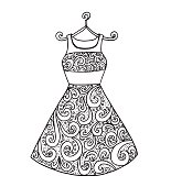Beautiful monochrome black and white wedding evening dress - Illustration Dress, Painted Image, Coloring, Flower, Guipure
