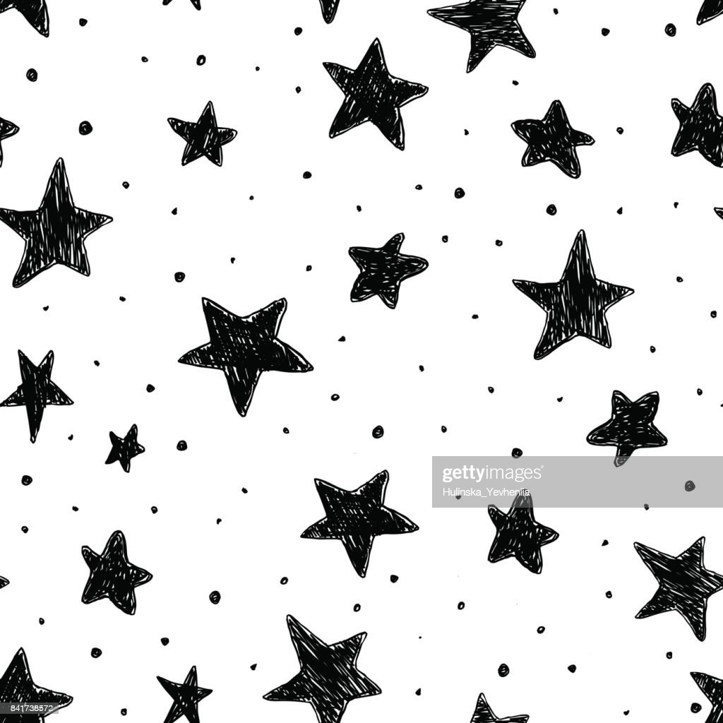 Beautiful monohrome black and white seamless sky pattern with textured stars, hand drawn.