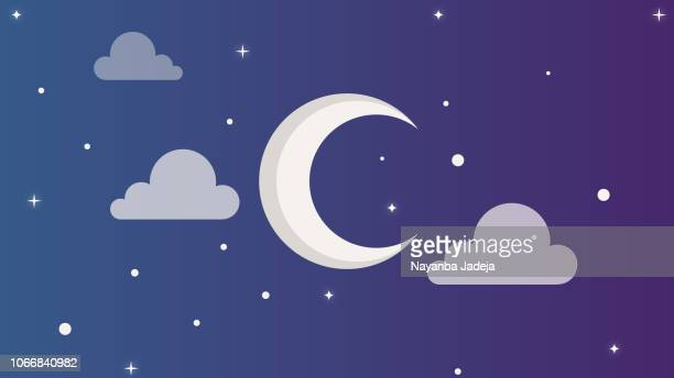 beautiful moon and cloud design - fasting activity stock illustrations, clip art, cartoons, & icons