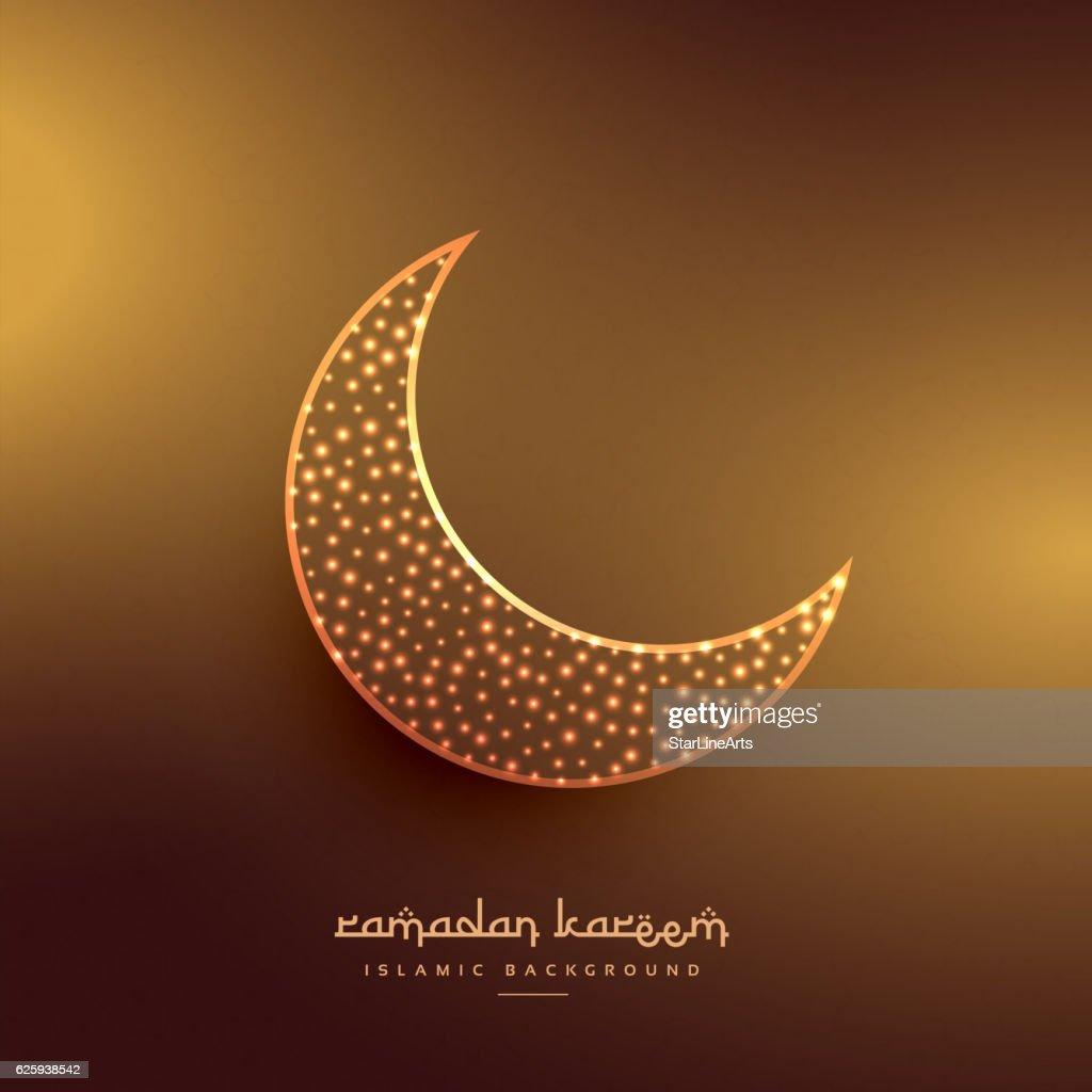 beautiful moon design in golden background