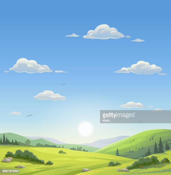 beautiful morning landscape - cloudscape stock illustrations, clip art, cartoons, & icons