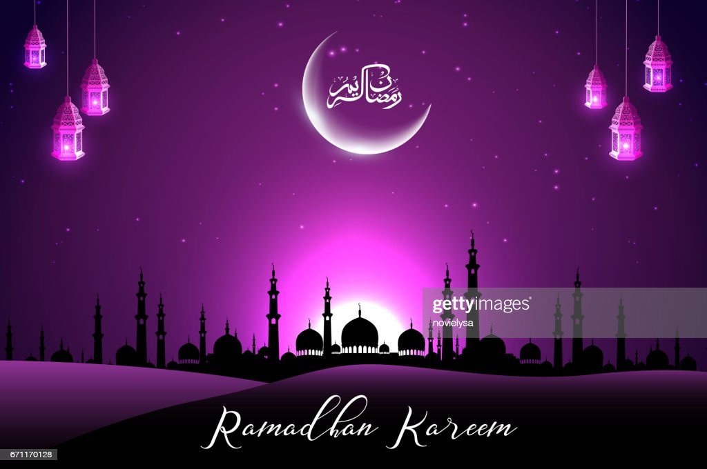 Beautiful mosque with crescent on purple sky background