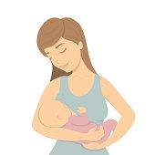Beautiful mother breastfeeding.