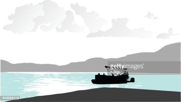 beautiful mountain lake boating - lake stock illustrations