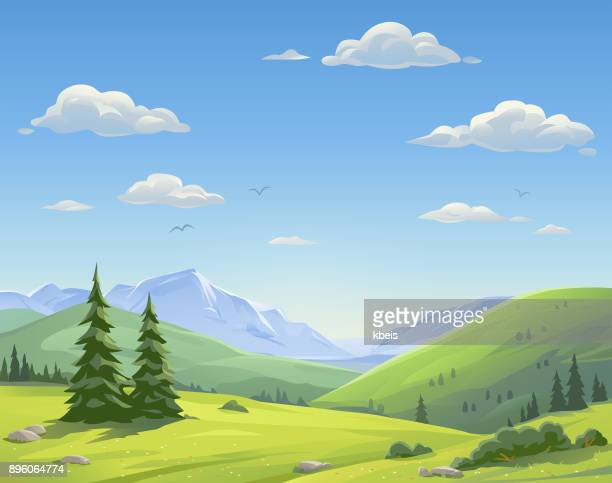 illustrazioni stock, clip art, cartoni animati e icone di tendenza di beautiful mountain landscape - paesaggio