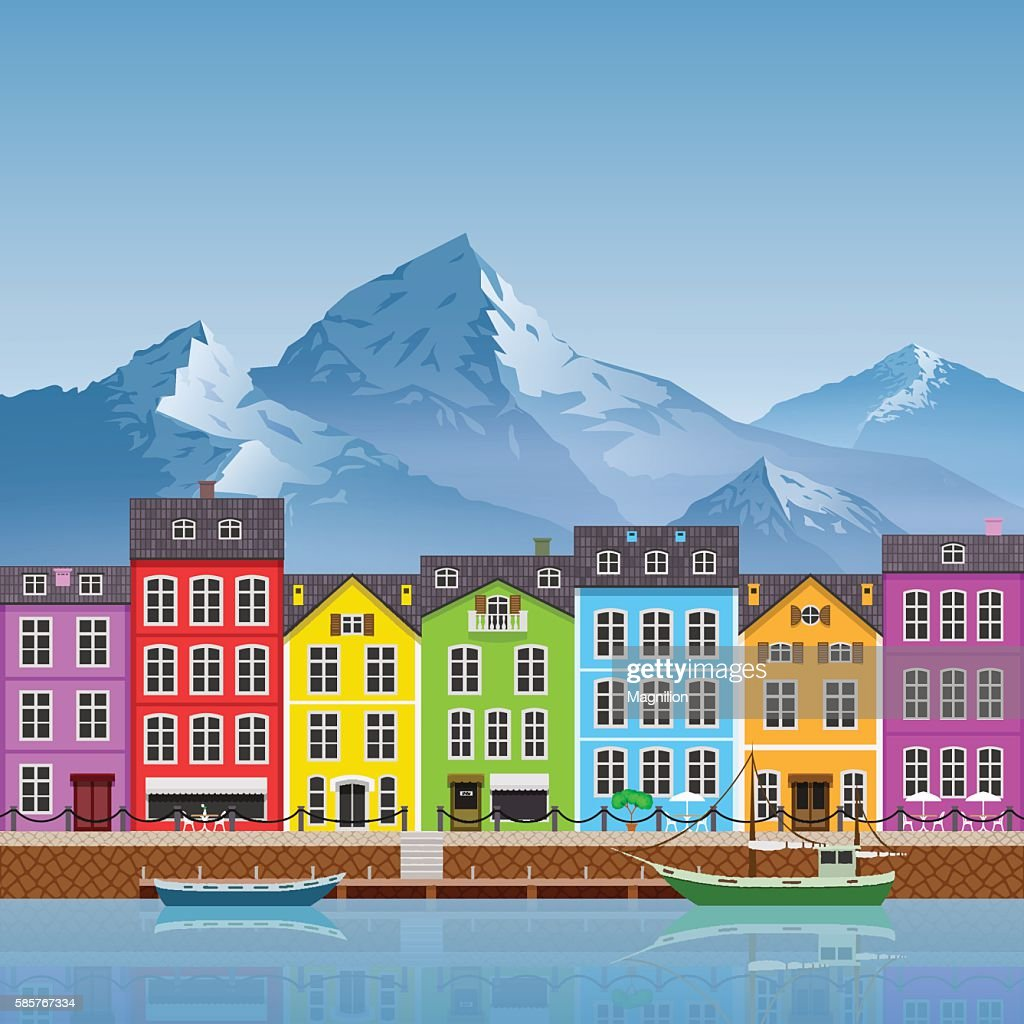 Colorful Buildings: Beautiful Mountain Landscape With Colorful Buildings