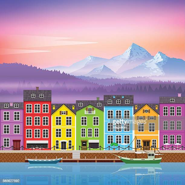 Beautiful Mountain Landscape with Colorful Houses