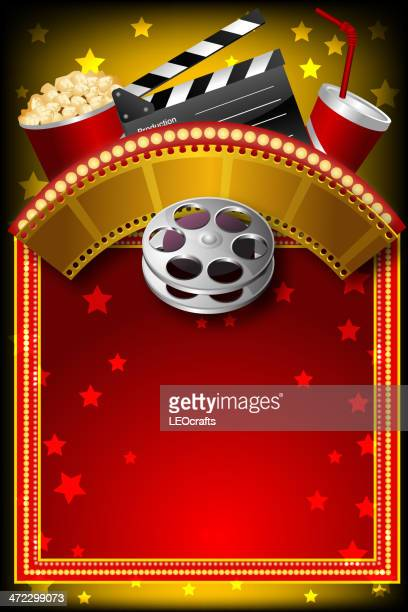 beautiful movie background with marquee display - tempo stock illustrations