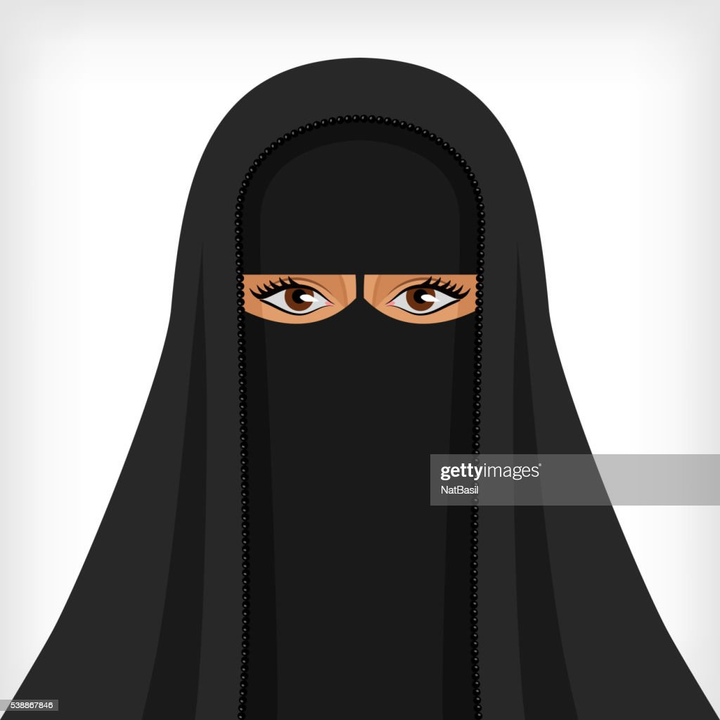 Beautiful muslim woman in black niqab