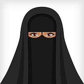 Beautiful muslim woman in black niqab