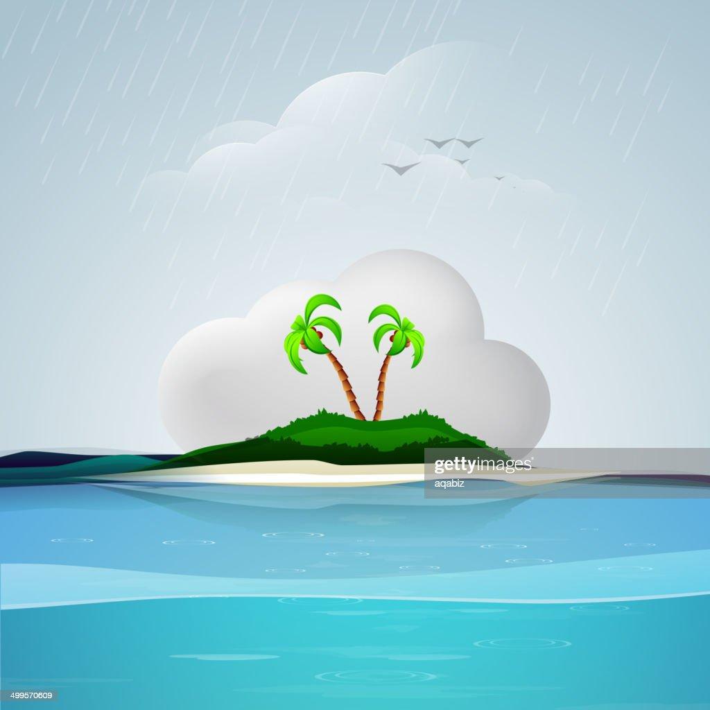 Beautiful nature background during rain.