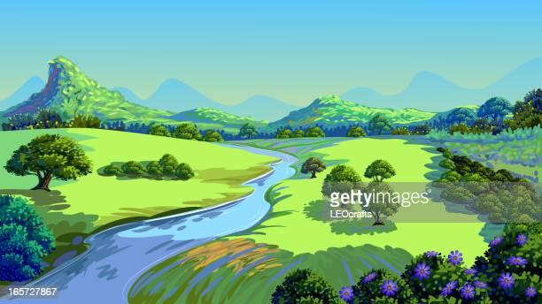 beautiful nature - river stock illustrations