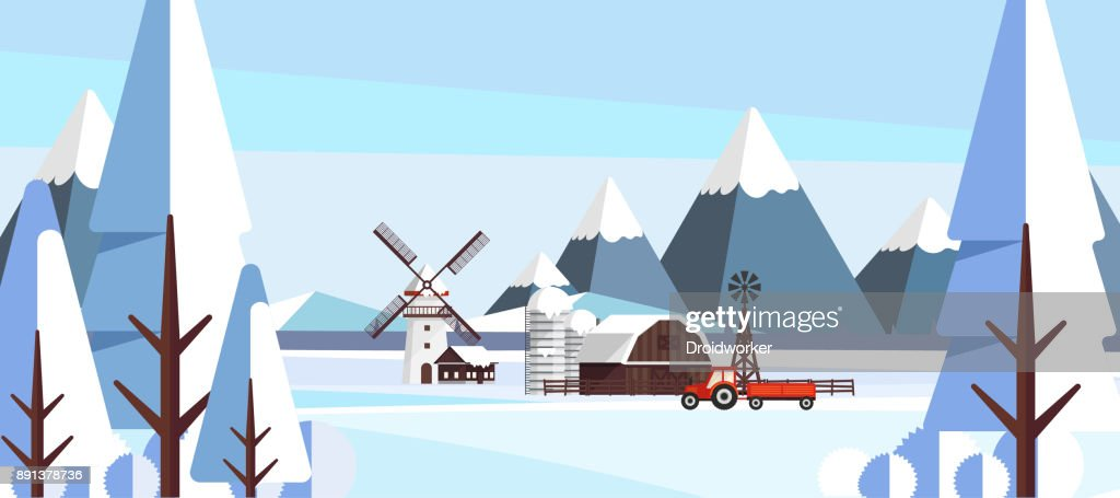 Beautiful Nature Winter Agricultural Countryside Vector Landscape Illustration