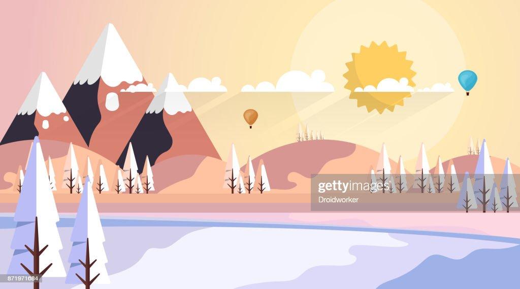 Beautiful Nature Winter Vector Landscape Illustration