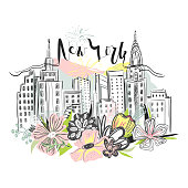 Beautiful New York skyscrapers, skyline with floral, flowers bouquet and fireworks