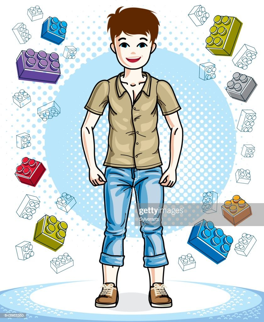 Beautiful nice young teenager boy posing in stylish casual clothes. Vector attractive kid illustration. Childhood lifestyle cartoon.