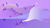 Beautiful night scenery landscape, many camping tents in area with high mountains, blue and purple tones