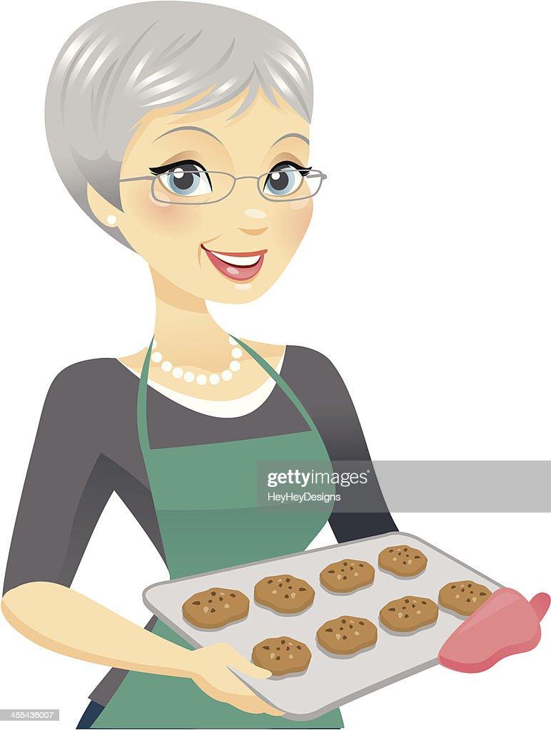 Beautiful Older Woman Baking : stock illustration