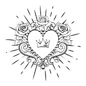 Beautiful ornamental heart with crown and roses in black color isolated on white background. Vector illustration