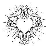 Beautiful ornamental heart with crown in black color isolated on white background. Vector illustration
