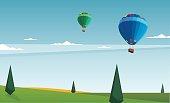 Beautiful panorama, landscape, balloon, Vector illustration