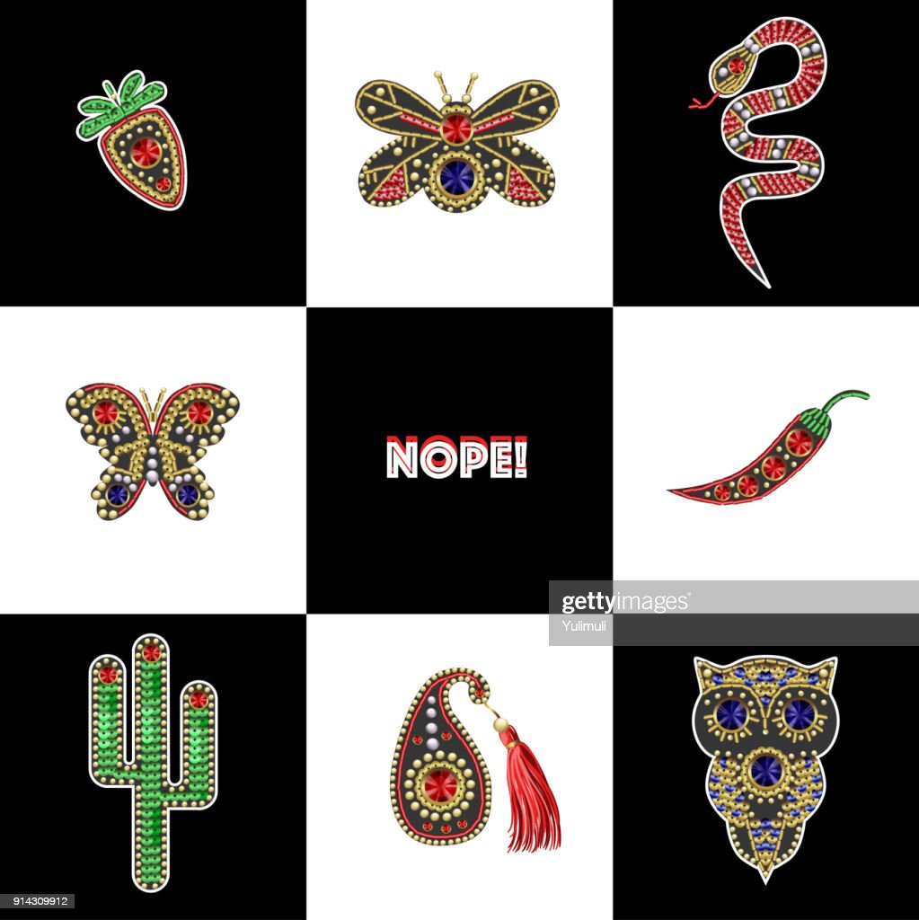 Beautiful patches with sequins, beads and precious stones for textile design or printing. Ice cream, cow, snake, berry, paisley, lip stickers.