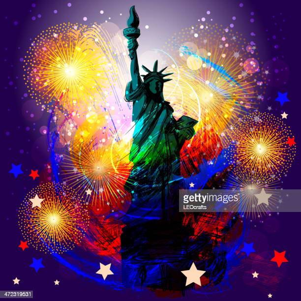 beautiful patriotic background - liberty island stock illustrations, clip art, cartoons, & icons