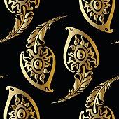 Beautiful peacock feathers. Gold pattern.