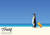 Beautiful Penguin  walking and holding  cabin case white sand beach while on summer vacation. Beach holiday poster. Vector