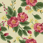 Beautiful peonies on beige background. Seamless pattern