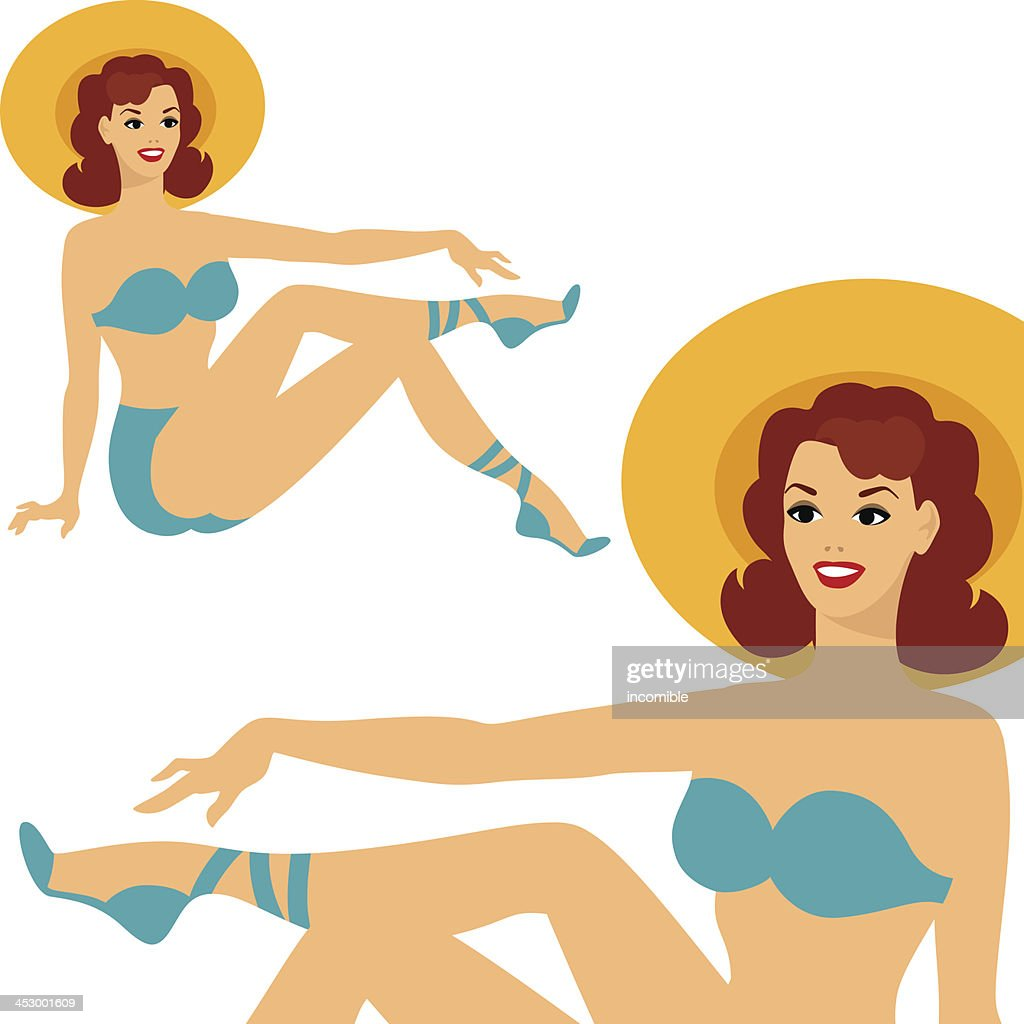 Beautiful pin up girl 1950s style in swimsuit.