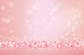Beautiful pink background with blooming Sakura pink petals. Vector illustration.