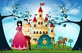 Beautiful Princess, Castle and cart
