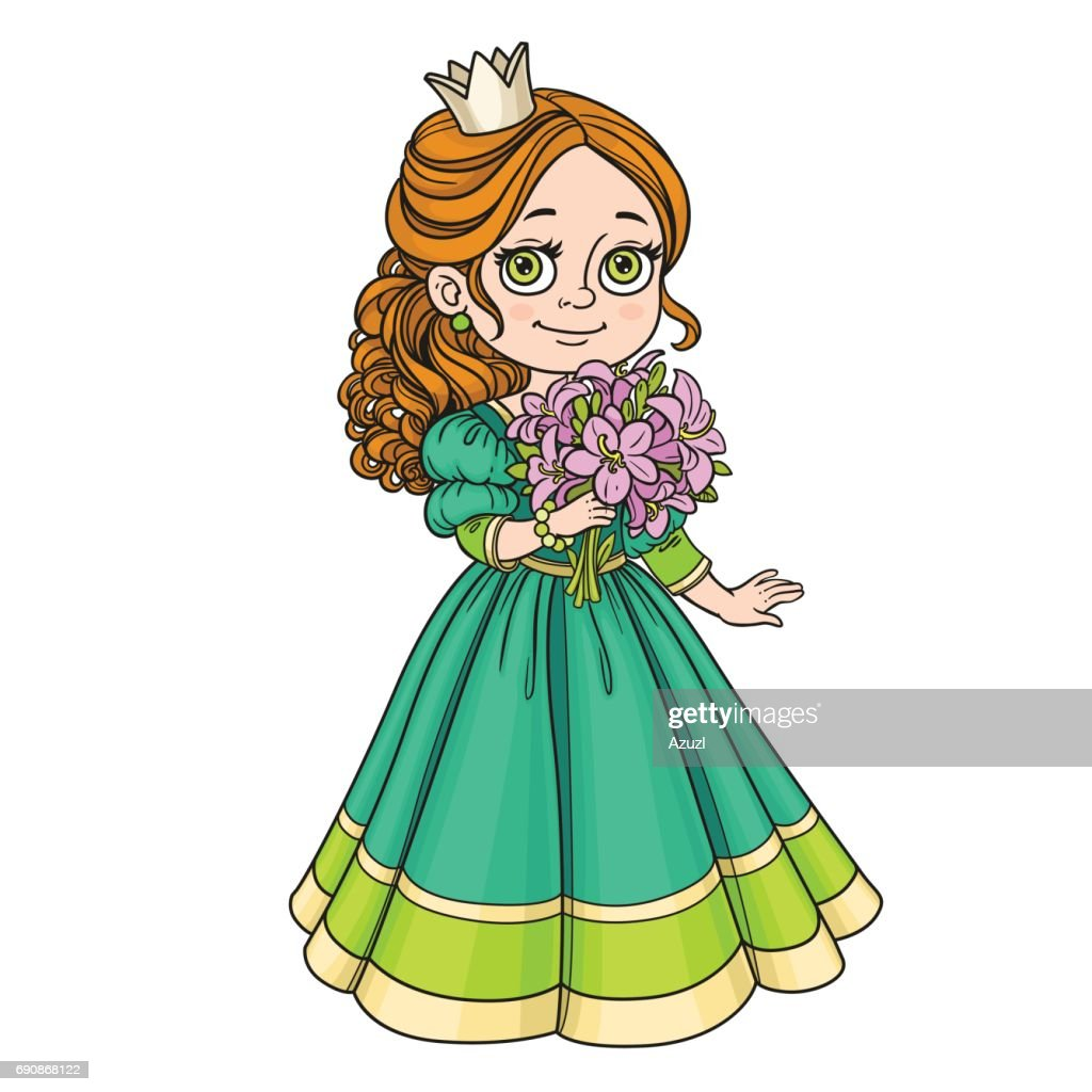 Beautiful princess holding bouquet of pink lilies in hand isolat