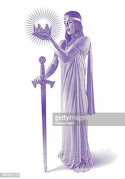 beautiful princess holding crown and sword - me too social movement stock illustrations, clip art, cartoons, & icons