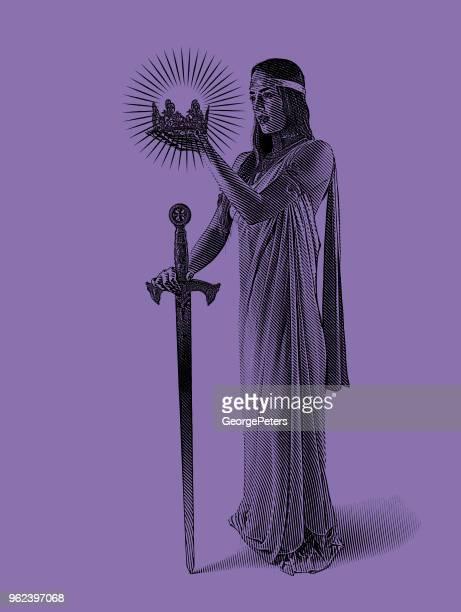 Mooie prinses holding kroon en zwaard