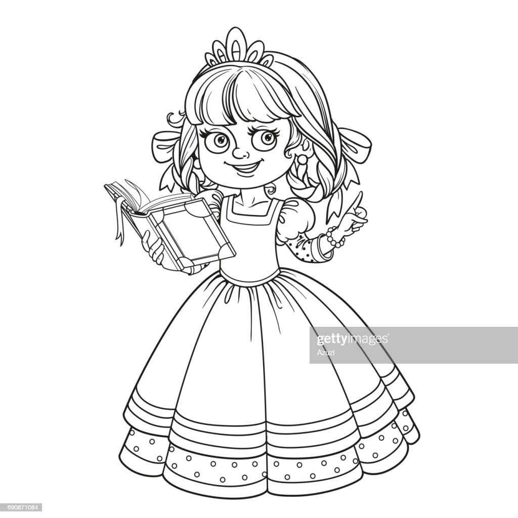 Beautiful princess read book outlined picture for coloring book