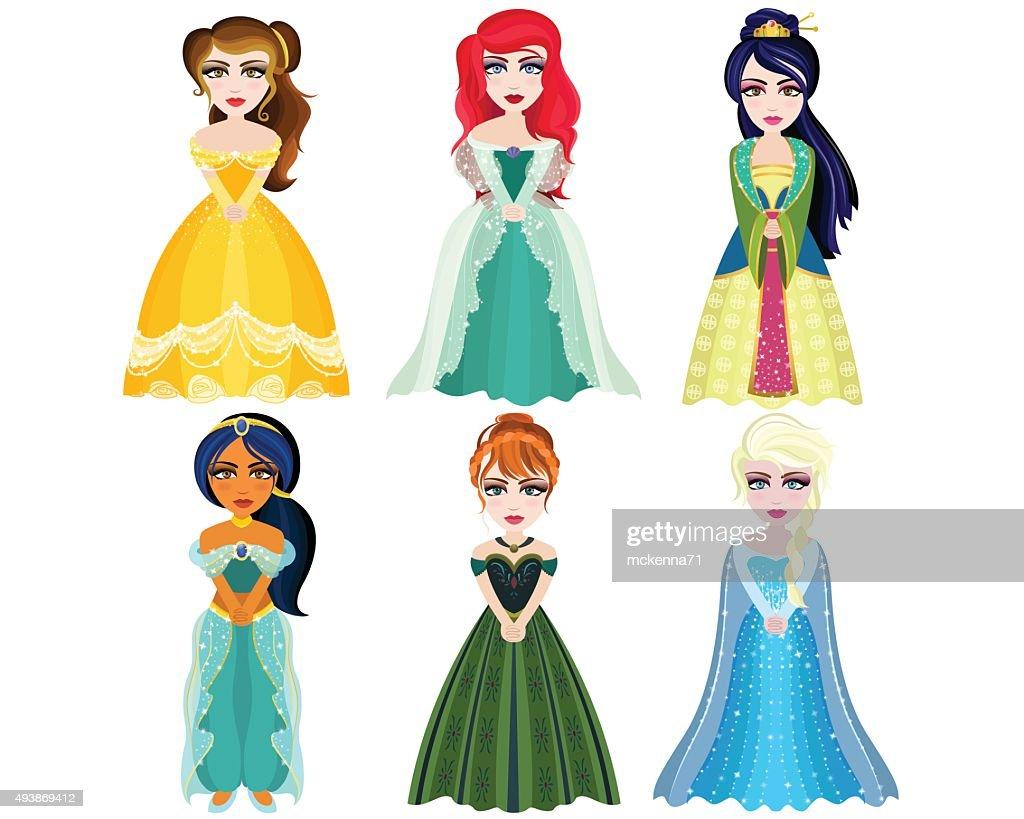 Beautiful Princesses Hand Drawn Unique Vector Set