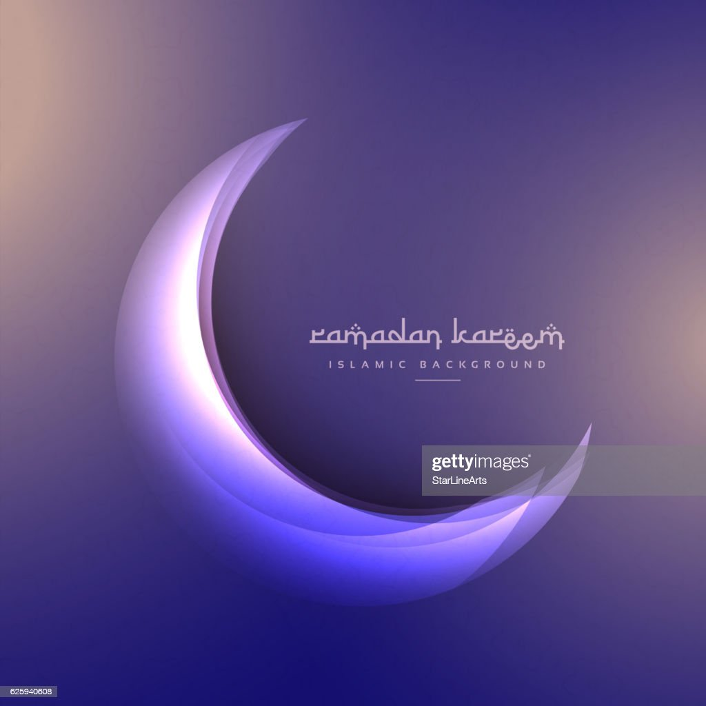 beautiful ramadan festival moon on purple background