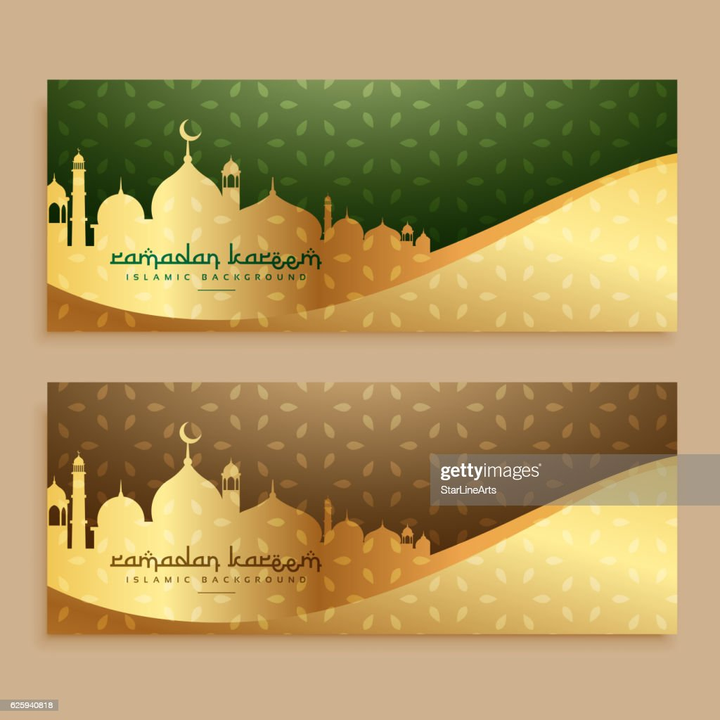 beautiful ramadan kareem golden banners