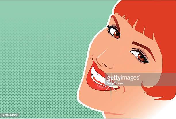 Schönes Rotes Haar Lächeln mit Textfreiraum