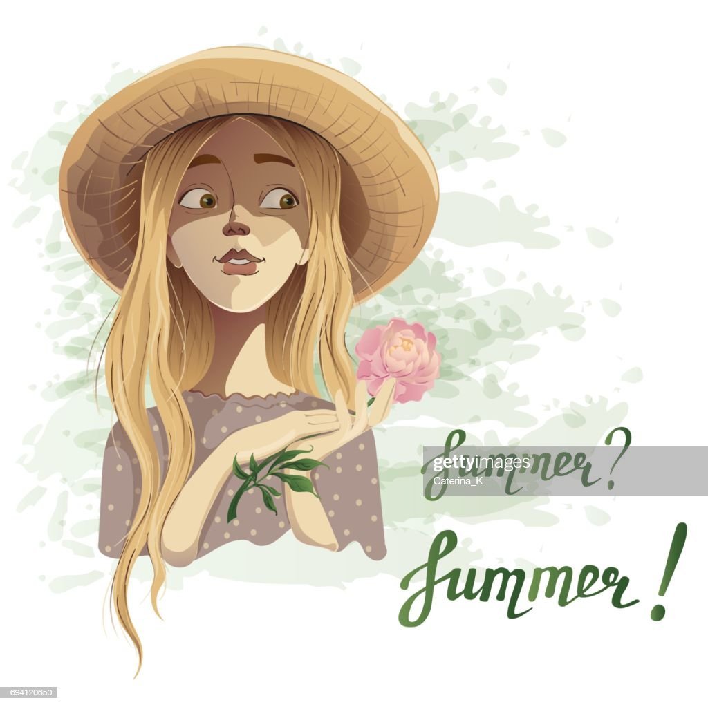 Beautiful romantic summer girl in a straw hat with a dainty flower peony