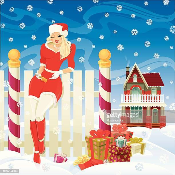 beautiful santa girl - blink stock illustrations, clip art, cartoons, & icons