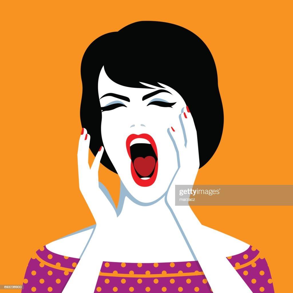 Beautiful screaming woman
